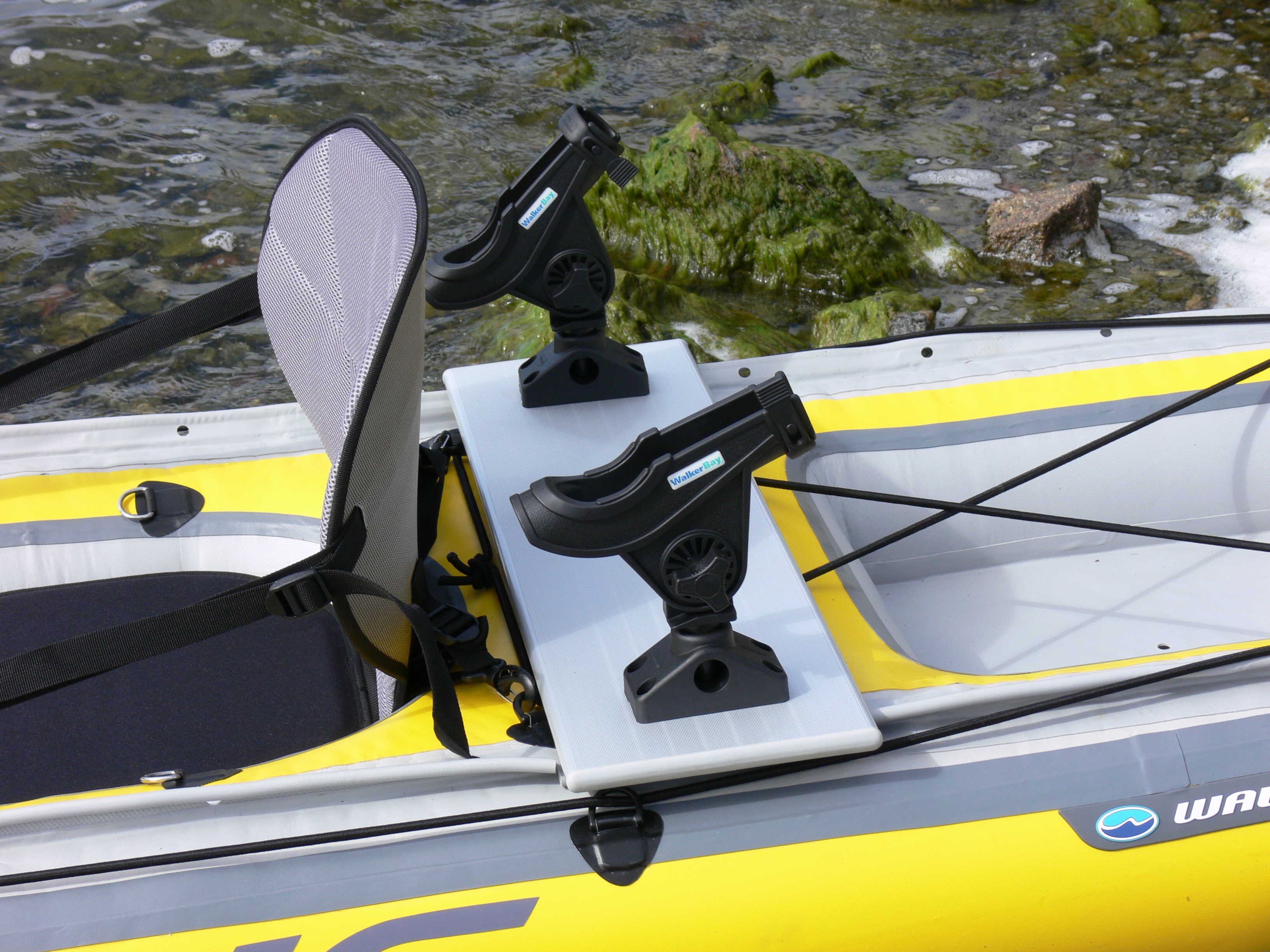 The airis inflatable angler kayak from walker bay not for Kayak fishing pole holder