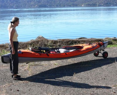 Dolly cart assembled on a 15 ft Advanced Elements Convertible Kayak