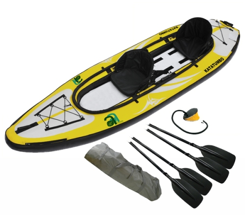 Maxxon Katatumbo II inflatable kayak system with paddles, pump and carrying tarp. Special purchase only $399.
