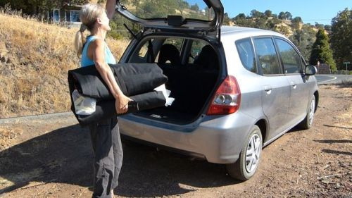The Swing easily fits in a car trunk.