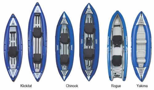 New Klickitat, Rogue, Yakima and Chinook Inflatable Kayaks from Aquaglide