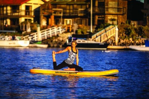 Lotus Inflatable YSUP from Advanced Elements is great for yoga.