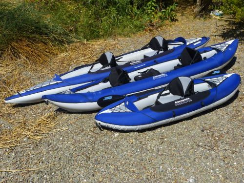 Deschutes Single, Chinook Tandem and Columbia Tandem Inflatable Kayaks