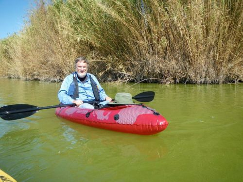 Lee Johnson in his Advanced Elements PackLite Kayak