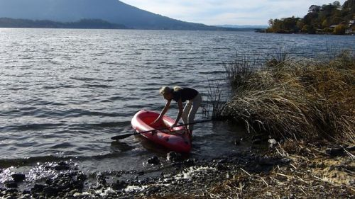 The Packlite inflatable kayak is easy to get into.
