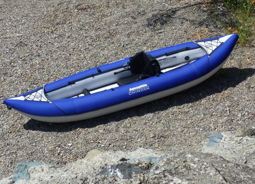 Aquaglide Chinook 2 set up for solo paddling