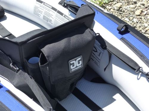 Seat has mesh pocket and fishing rod holders.