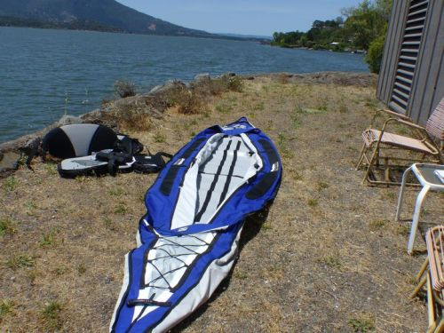 Unpacking the Columbia Tandem inflatable kayak.