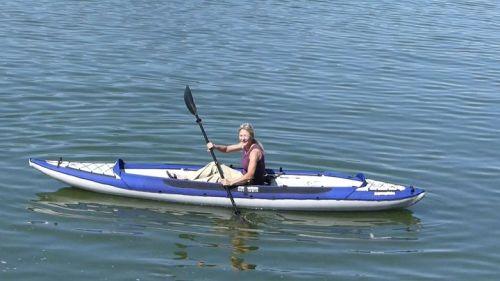 Columbia Tandem inflatable kayak paddled solo.