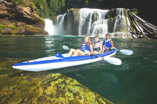 The Aquaglide Columbia Tandem inflatable kayak with three paddlers.