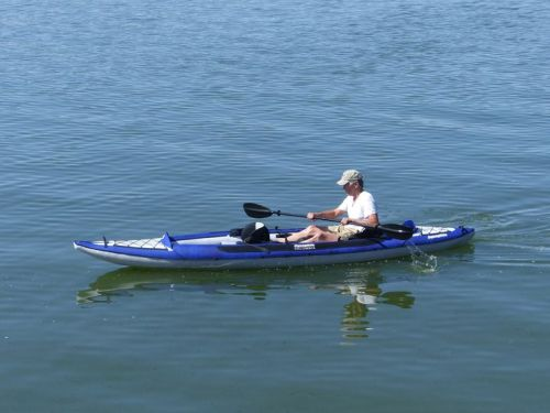 Columbia Tandem inflatable kayak paddled solo.