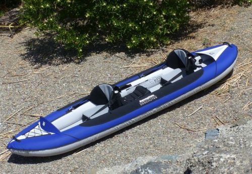 Deschutes Tandem inflatable kayak for 1-3 paddlers.