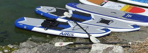 The Airis Stubby 9 and SUV 11 inflatable paddle boards.