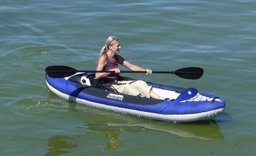 Deschutes Two HB inflatable kayak paddled solo.
