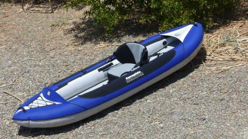Deschutes 2 HB inflatable kayak set up for solo paddling.