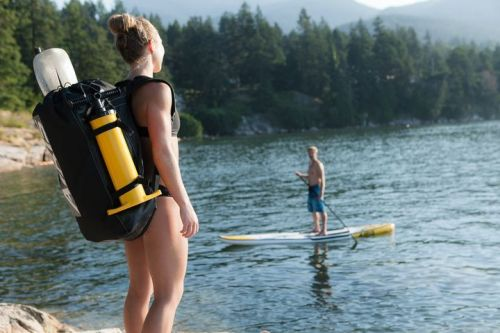 The Airis Inflatable Hollowdeck comes with backpack and pump.