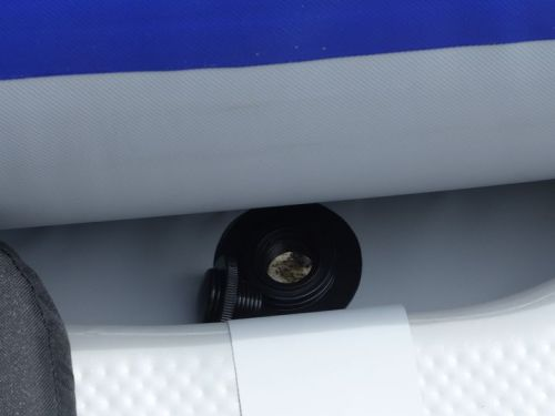 Four self-bailing plugs and one rear drain plug