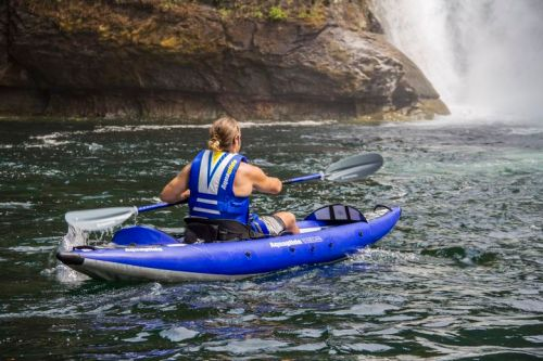 AquaGlide Chelan Two HB Inflatable Kayak paddled solo