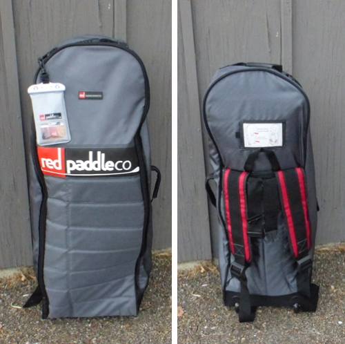 Front and back views of the roller backpack.