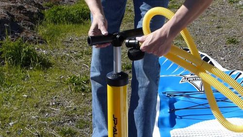 Attaching the hose and gauge to the pump
