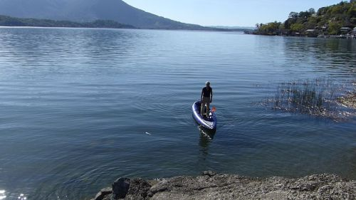 Standing up in the AquaGlide Chelan Tandem