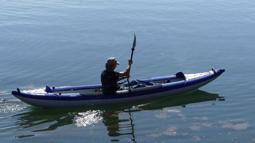 AquaGlide Columbia XP Tandem on the water paddled solo
