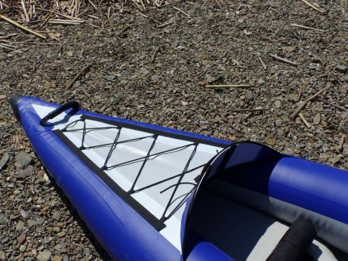 Front and rear spray decks with bungee deck lacing