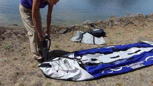 Pumping up the kayak