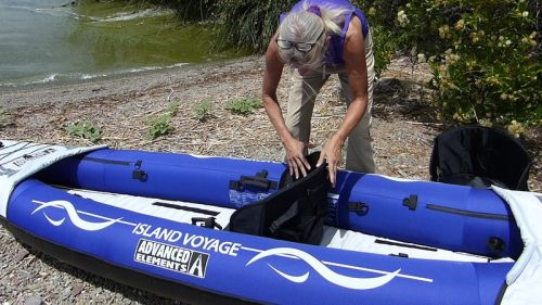 Converts easily to solo paddling.