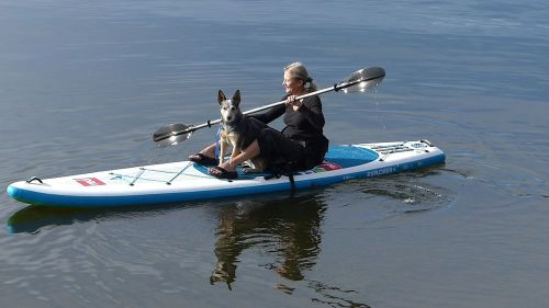 Paddling with a furry friend.