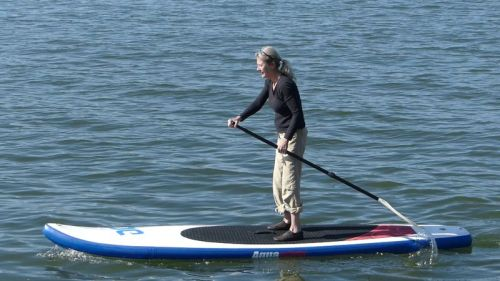 Cascade 12-0 inflatable paddle board from Aquaglide - on the water.
