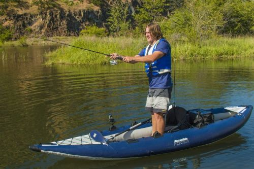 AquaGlide Blackfoot Angler XL set up for solo paddling.