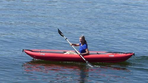Innova Twist II LN inflatable kayak paddled solo.