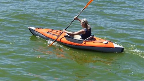AdvancedFrame Inflatable Kayak on the water.