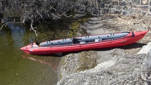 Innova Seawave inflatable kayak set up as a solo.