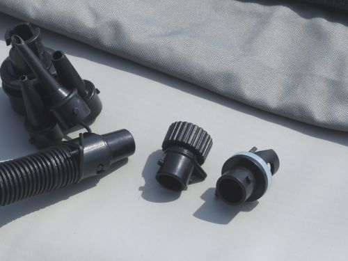 Adaptors for Boston valve, screw-on military, and high pressure floor.