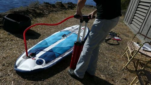Pumping up the Red Paddle Compact Inflatable SUP