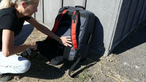 Red Paddle Compact - Lumbar Support on the backpack