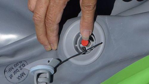 Closing the valve.