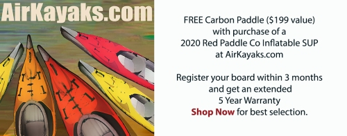 Free carbon paddle with purchase of a Red Paddle Co SUP