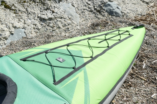 Bungee deck lacing and front zipper
