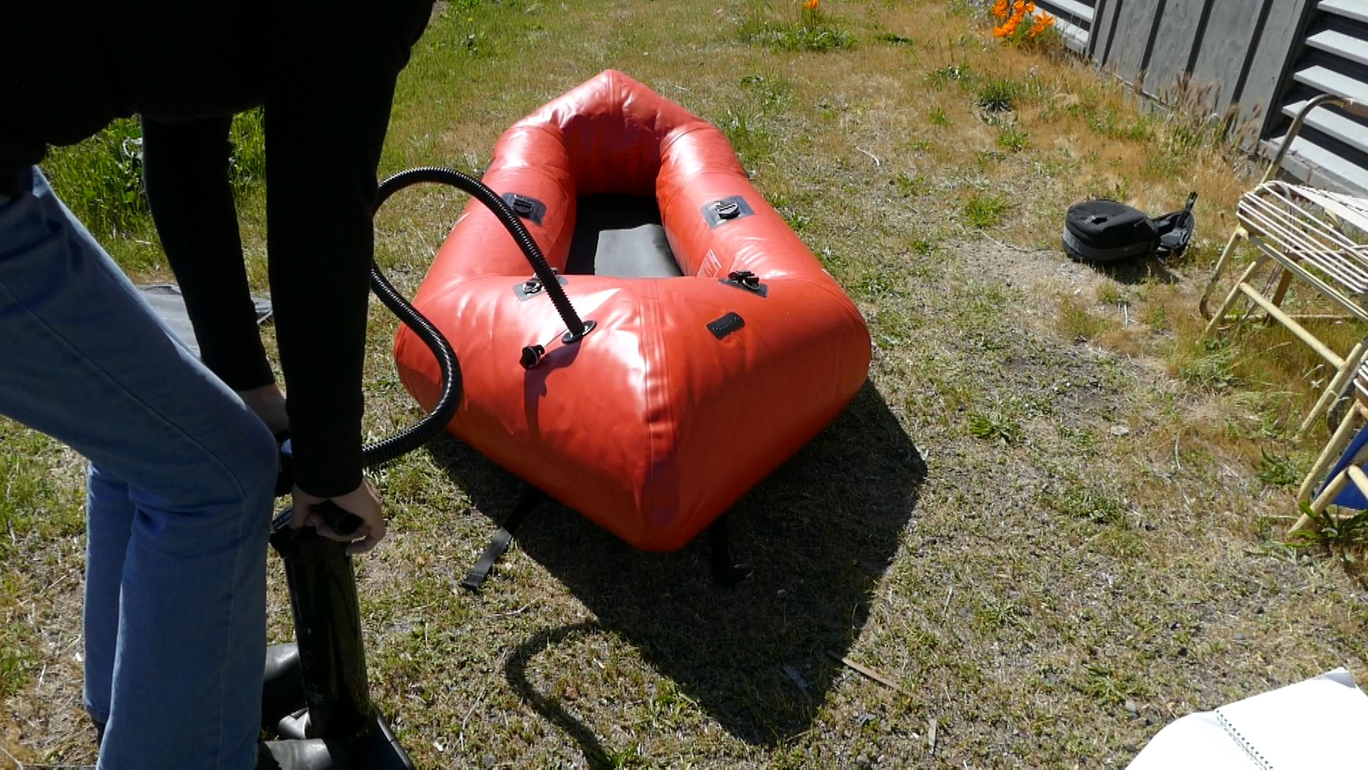Pumping up the Kokopelli Packraft