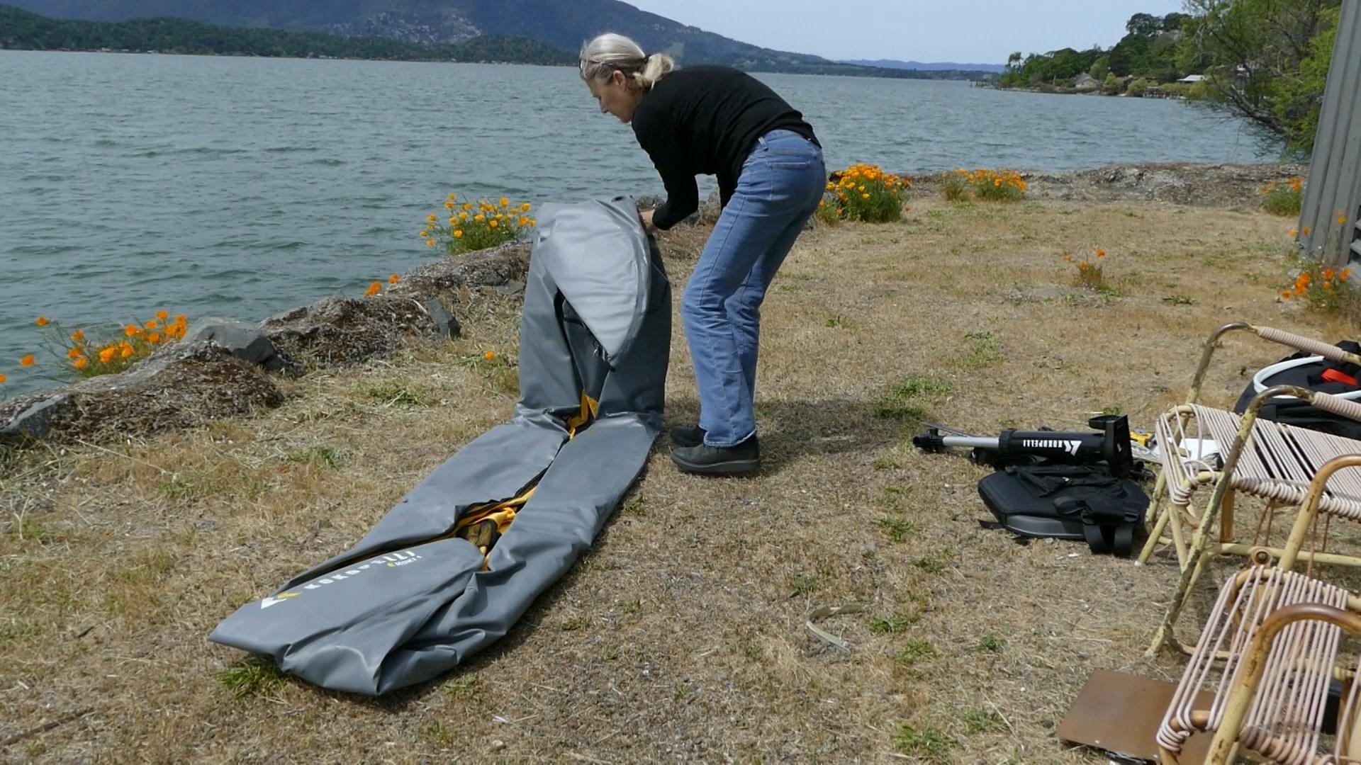 Folding the kayak.