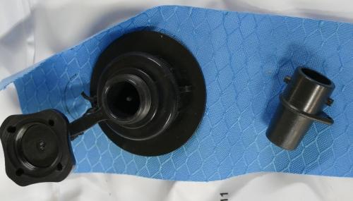 Boston valve adaptor on right